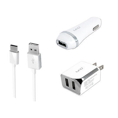 3in1 Type-C USB Car Wall Chargers for Alcatel A7 XL, Idol 4S,PLUS 12, WH