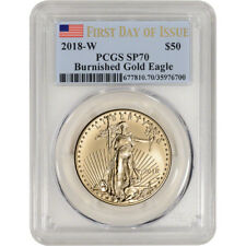 2018-W American Gold Eagle Burnished 1 oz $50 PCGS SP70 First Day Issue Flag