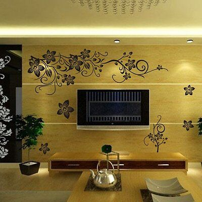 - Butterfly Vine Flower Mural Art Wall Stickers Vinyl Decal Home Room Decor EA7X