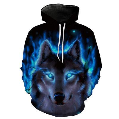Man Hoodie Wolf Head 3D Digital Full Printed Casual Unisex Hooded Sweatshirt