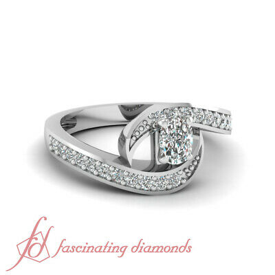 Pave Set 0.75 Ct Cushion Cut Diamond Interlock Style Engagement Ring 14K VS1 GIA