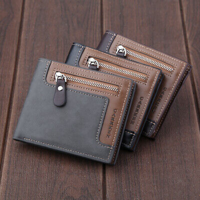Men's Wallet Genuine Leather Credit Card Holder RFID Blocking Zipper Thin Pocket Billfold Credit Card Holders