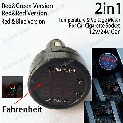 2in1 12v 24v Auto Car Cigarette Lighter Digital Voltmeter Fahrenheit Thermometer