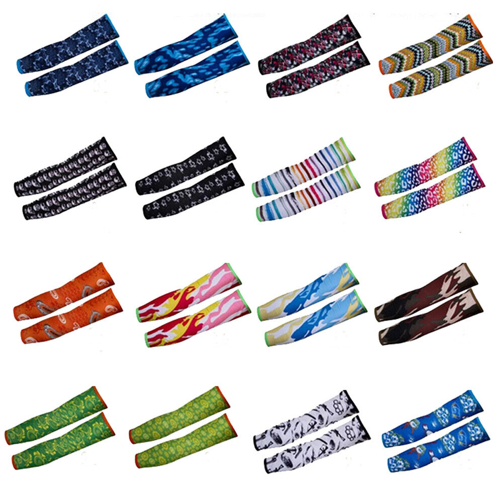 2 Pair Summer Sun Protection Cooling Arm Sleeves Cover For Men Women Sport US Basketball