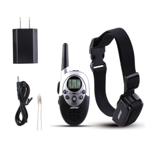 Rechargeable Waterproof 1000 Yard Shock Vibra Pet Dog Training Collar LCD Remote