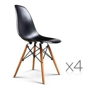 4 x Replica Eames Eiffel DSW Black Retro Dining Chairs Cafe Hom Sydney City Inner Sydney Preview