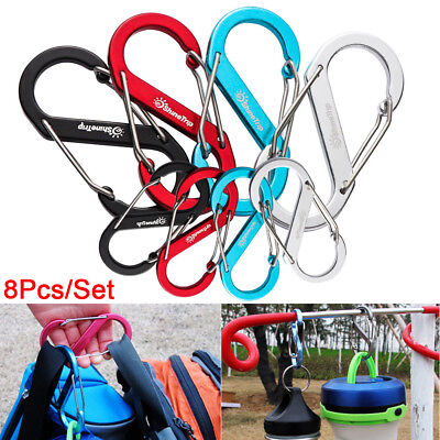 8Pcs Aluminum S-Shape Buckle Double Gated Carabiner Key Ring Clip Hook Outdoor