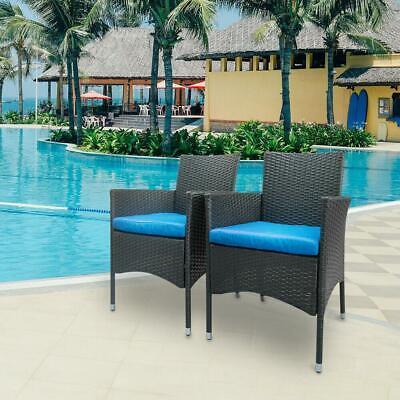 Garden Furniture - 2PC Patio Rattan Wicker Chair Sofa Patio Garden Furniture Cushion Outdoor Chairs