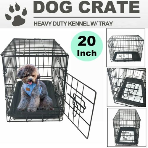 """20"""" Pet Kennel Cat Small Dog Folding Steel Crate Animal Wire"""