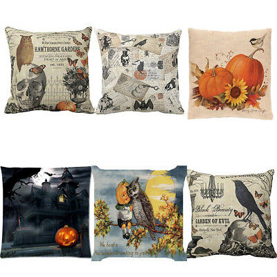 Happy Halloween Square Pillow Cases Linen Sofa Cushion Cover Home Decor Hot Sale