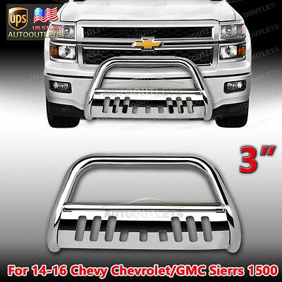BULL BAR FOR 2014-2016 CHEVY SILVERADO 1500 STAINLESS BRUSH PUSH BAR GRILL GUARD