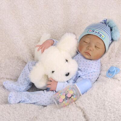 """Realistic Reborn Baby Dolls 22"""" Lifelike Vinyl Silicone Newborn Boy Doll Clothes"""