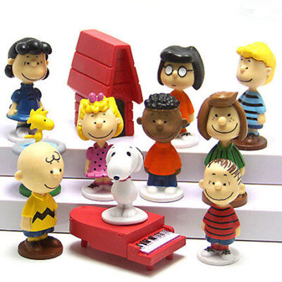 12 PCS Peanuts Charlie Brown Snoopy PVC Figure Cake Topper Kids Gift Doll Toy US - Charlie Brown Cakes