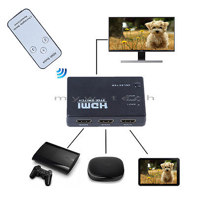 3 Port 1080P HDMI Switch Splitter Switcher Remote for DVD PS4 Xbox ONE S ONE X