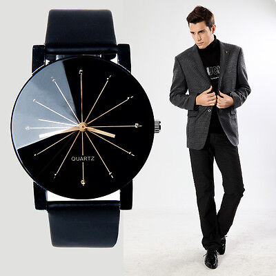Men's Casual Quartz Watch Stainless Steel Leather Analog Sports Wrist Watch -