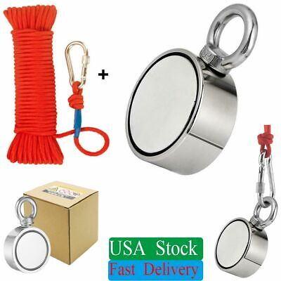 850lbs Double Sided Fishing Magnet Rope Kit Strong Neodymium Round Eye Bolt Pull