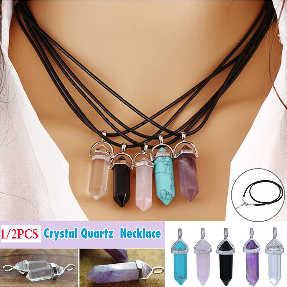 Jewellery - 1/2PCS Quartz Crystal Stone Point Chakra Healing Gemstone Pendant Necklace