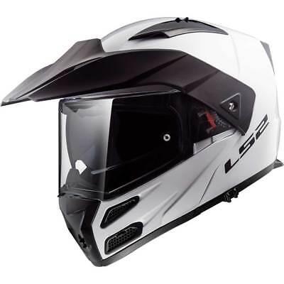 Blanc Brillant Dual Sport Visière Relevable Casque Moto (Sport-visiere)