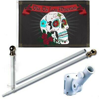 Dia De Los Muertos 3 x 5 FT Flag + 6 Ft Spinning Tangle Free Pole + Bracket](Dia De Los Muertos Flags)