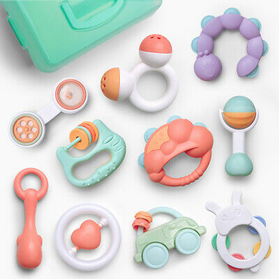 10pcs Baby Rattles Teether Shaker Grab and Spin Rattle Musical Toy Set for Babys