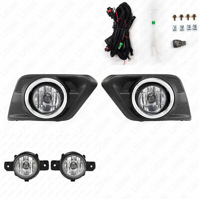 For 2014-2016 Nissan Rogue X-Trail Clear Fog Lights with Switch Bulbs Bezel Set