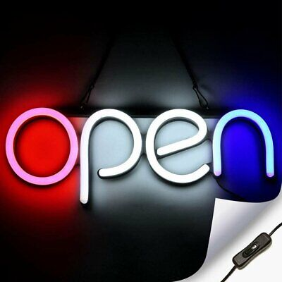 Led Neon Open Sign Light For Business With On Off Switch - Red White And Blue