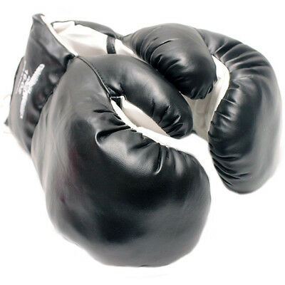 16 OZ BOXING PRACTICE TRAINING GLOVES MMA Sparring Punching Faux Leather Black