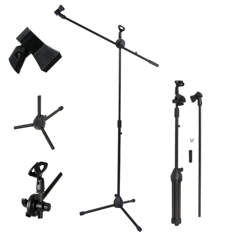 "New FS-002 Black Adjustable Folding Tripod Boom Microphone Mic Stand 35"" to 64"""