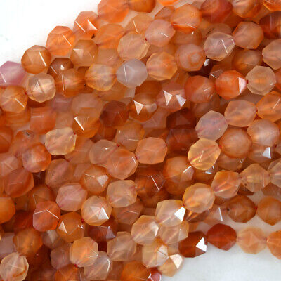 Natural Star Cut Faceted Carnelian Round Beads Gemstone 15