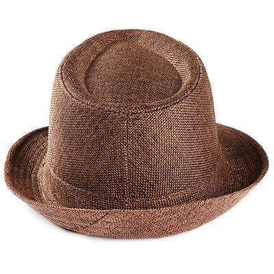 Unisex Trilby Gangster Cap Beach Sun Straw Hat Band Sunhat  AAA