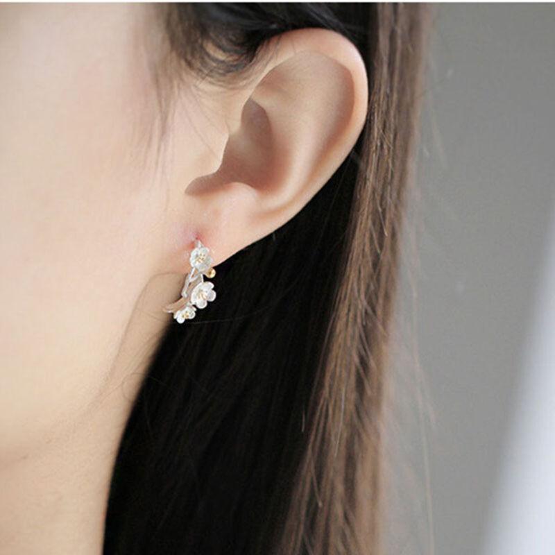 Mariage Bijoux Cherry Blossom prune fleurs Charme Boucles d/'Oreille pour Femmes Cadeau