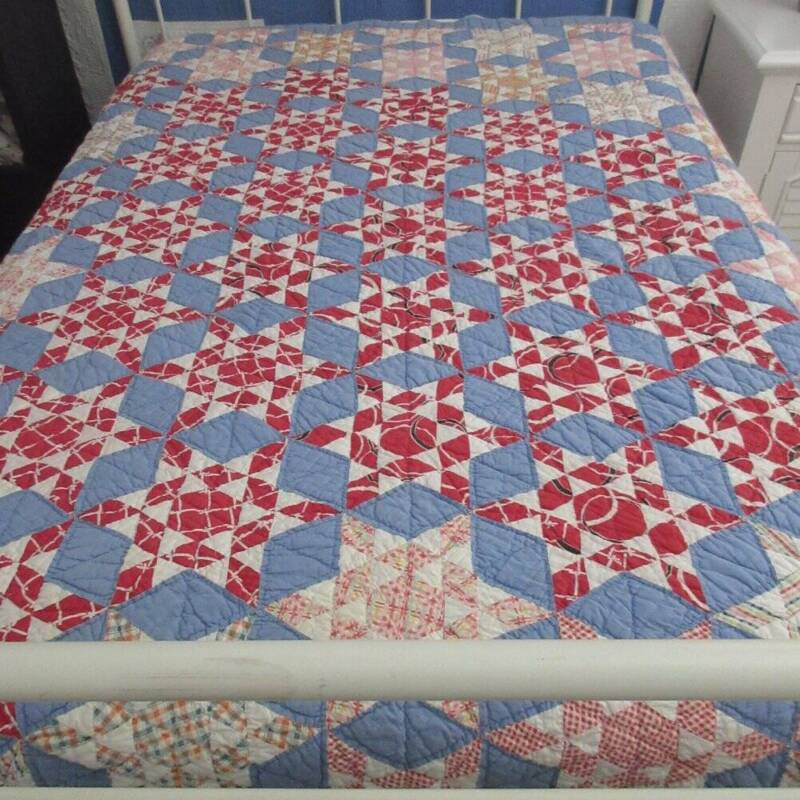 Hurray for the Red White Blue! Vintage 30s STARS QUILT 80x64