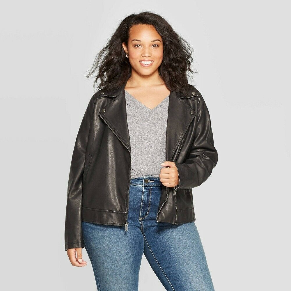 Women's Plus Size Moto Jacket – Universal Thread™ Black, X Clothing, Shoes & Accessories