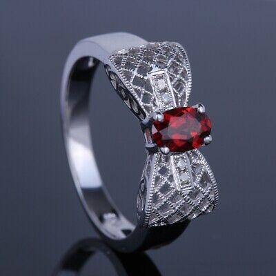 14K White Gold Oval 6x 4mm Genuine Garnet&Diamonds Wedding Vintage Ring Bowknot