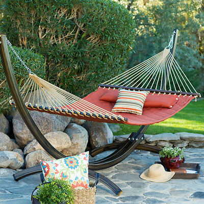 Quilted Double Hammock Bed 2 Person Outdoor Hanging Patio Deck Porch Tree Yard