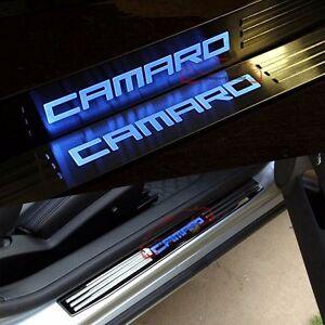 LED Light Door Sill Scuff Kick Plate Guard for Chevy Chevrolet Camaro Logo 10-15