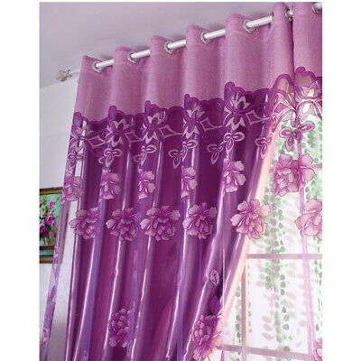 Luxury Jacquard Window Curtains Tulle Panel Sheer Voile Home Bedroom Living Room Floral Window Treatment