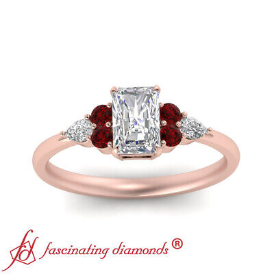 3/4 Carat Radiant Cut D-Color Diamond And Ruby Gemstone 7 Stone Engagement Ring 1