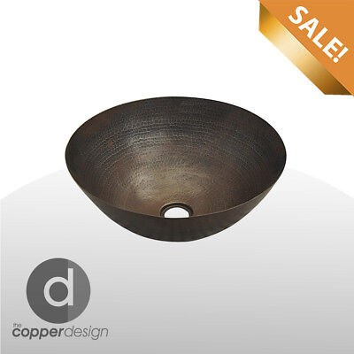 Irrevocable SALE#45 Hand Hammered Copper Round Bath Vessel Sink 14""