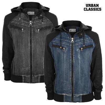 Urban Classics Herren Jacke Hooded Denim Leather Jeansjacke Winterjacke S - 3XL ()