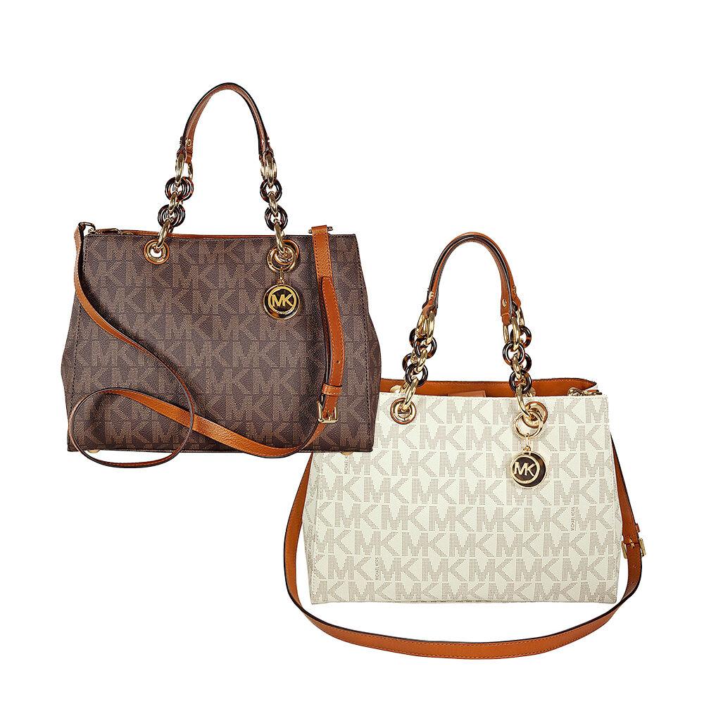 Michael Kors Cynthia Medium PVC Logo Satchel Handbag