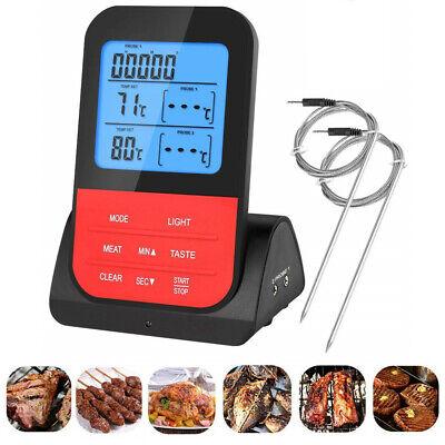 Digital Grillthermometer Fleischthermometer BBQ Thermometer Funk mit 2 Fühler (Fleisch, Digitale Thermometer)