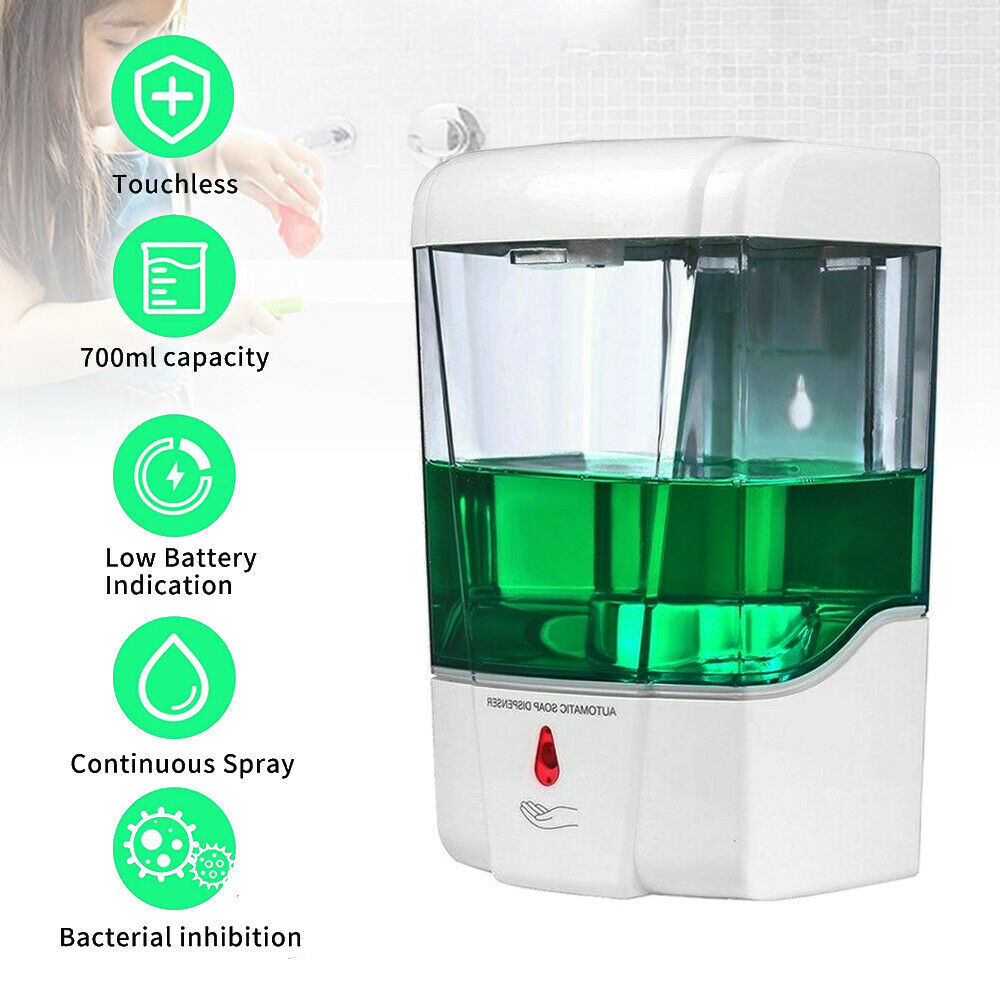 700ML Automatic Liquid Soap Dispenser Sensor Wall Mount Sanitizer Touchless Bath