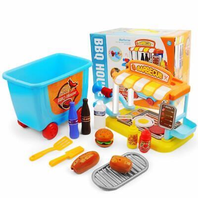 Kids BBQ Pretend Play Food Cooking Game Cart Box Kit Barbecu
