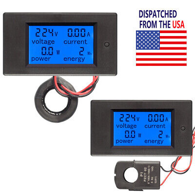 Ac 100a Digital Lcd Panel Meter Monitor Watt Kwh Power Energy Voltmeter Ammeter