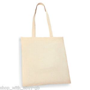 10 x PLAIN ECO NATURAL COTTON SHOPPING SHOULDER TOTE BAGS 420 x 380mm BRAND NEW