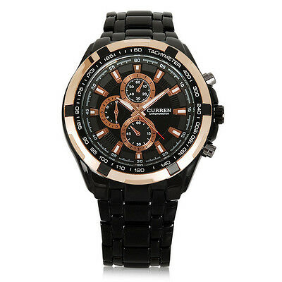New Men's Fashion Business Waterproof Stainless Steel Analog Quartz Wrist Watch