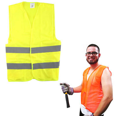 New Construction Traffic Safety Vest Mesh School Hunting Orange Yellow One Size
