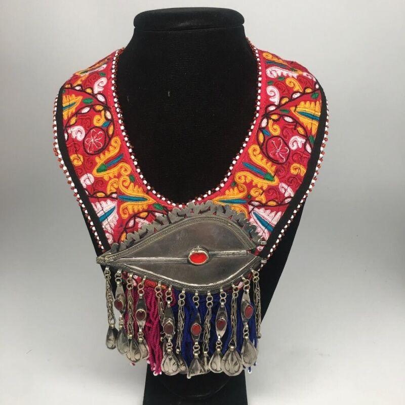 Vintage Turkmen Choker Necklace Pendant on Hand Sawn Soft Fabric Handmade,TN234