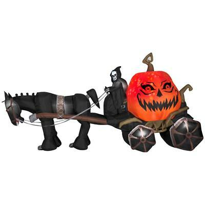 Halloween 12 ft Projection Fire & Ice Grim Reaper & Carriage Airblown Inflatable